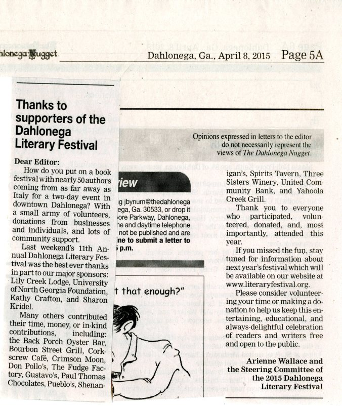 8Apr2015 Literary Festival Thanks